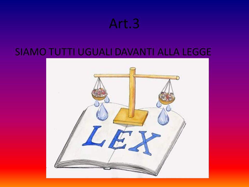 Art.3 SIAMO TUTTI UGUALI DAVANTI ALLA LEGGE