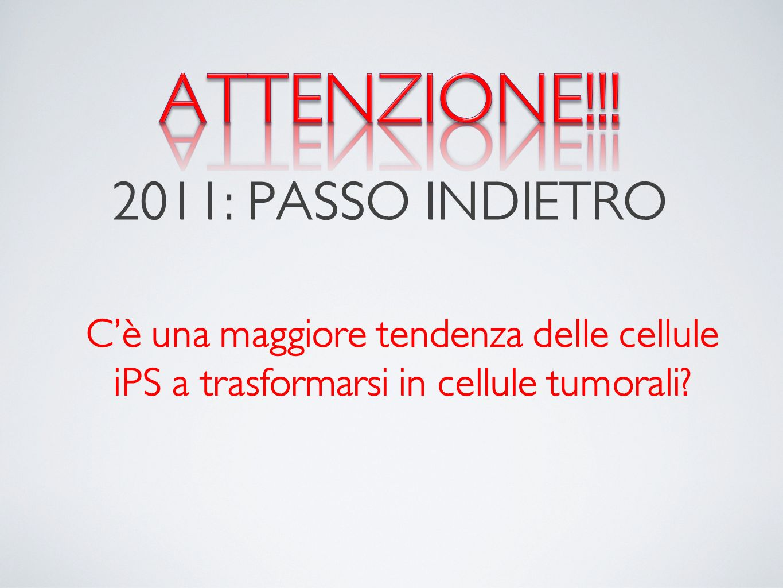 ATTENZIONE!!! 2011: PASSO INDIETRO