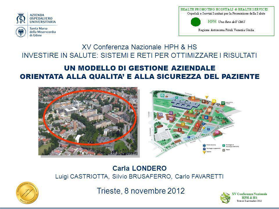 Trieste, 8 novembre 2012 XV Conferenza Nazionale HPH & HS