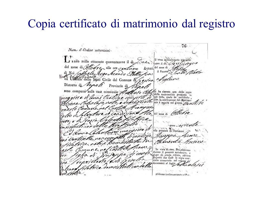 Copia certificato di matrimonio dal registro
