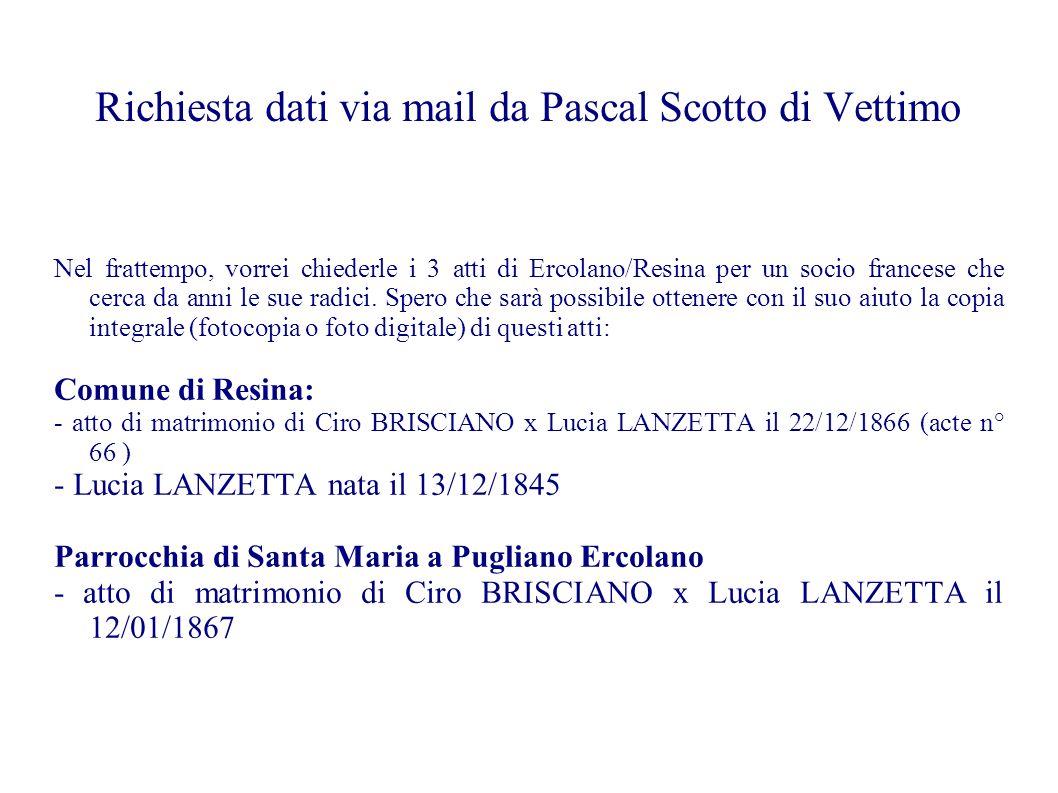 Richiesta dati via mail da Pascal Scotto di Vettimo
