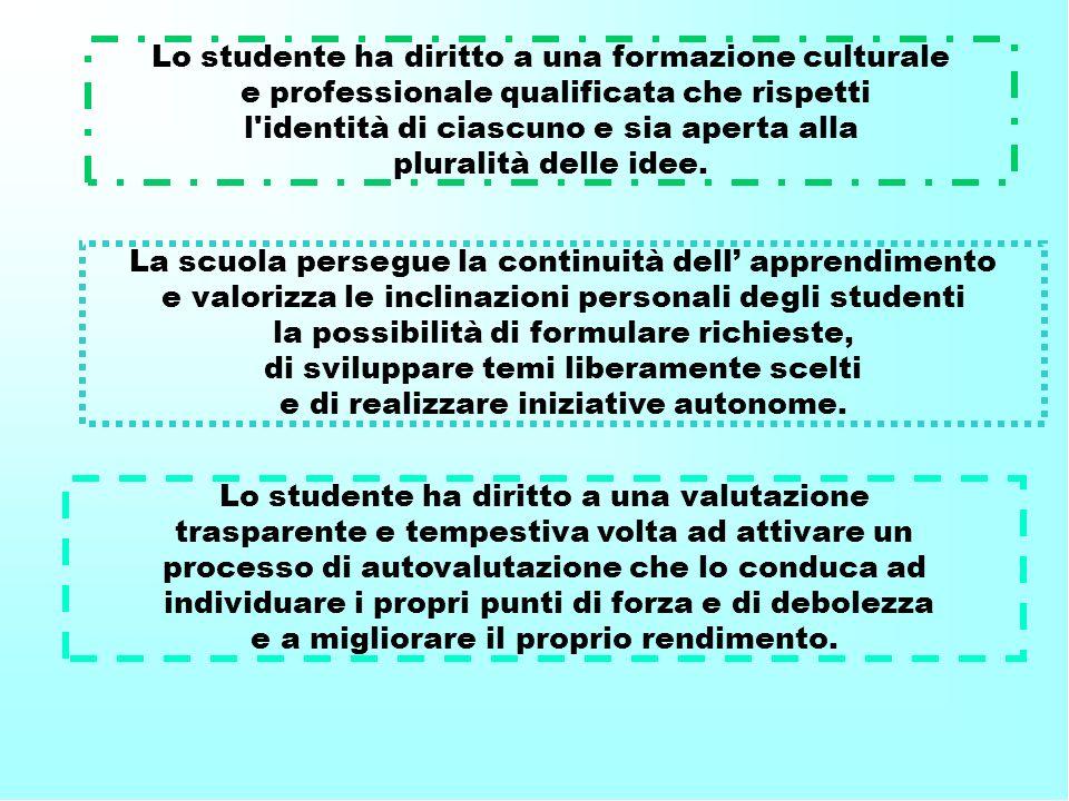 Lo studente ha diritto a una formazione culturale