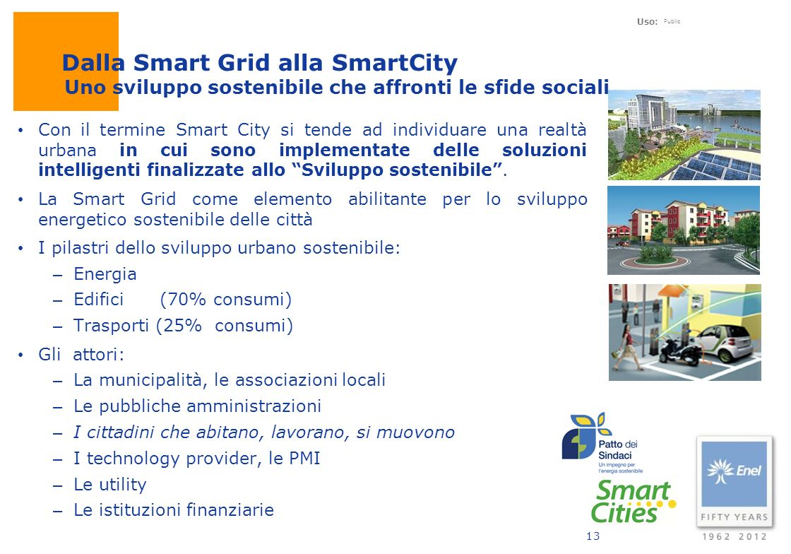 Dalla Smart Grid alla SmartCity Uno sviluppo sostenibile che affronti le sfide sociali