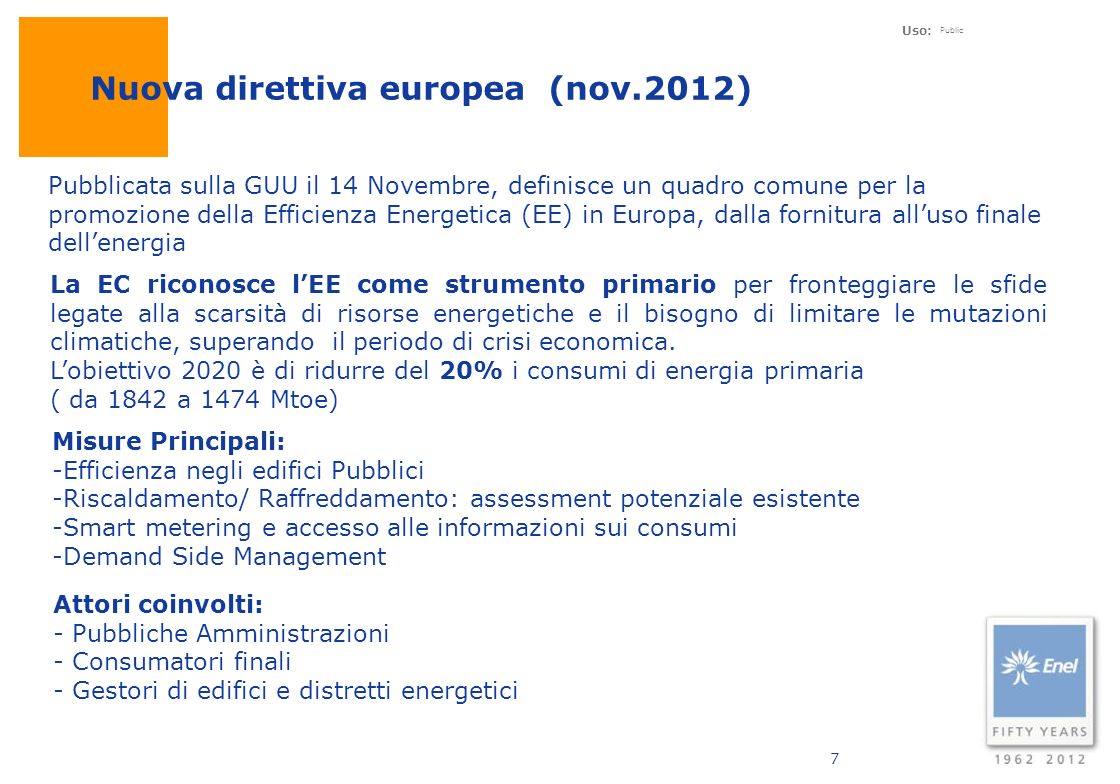 Nuova direttiva europea (nov.2012)