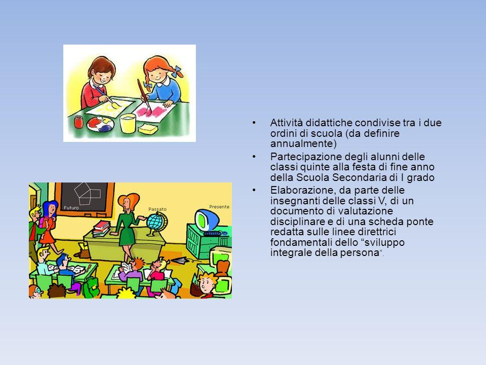 Attività didattiche condivise tra i due ordini di scuola (da definire annualmente)