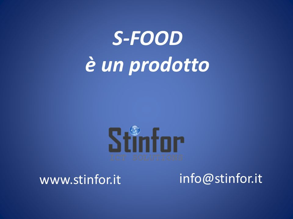 S-FOOD è un prodotto www.stinfor.it