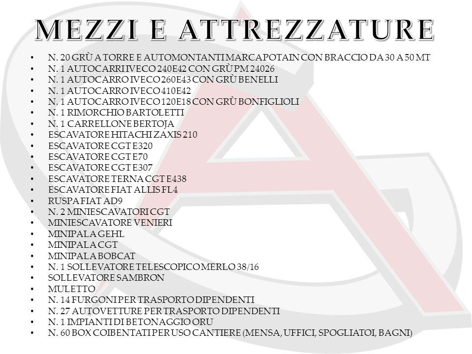 MEZZI E ATTREZZATURE N. 20 GRÙ A TORRE E AUTOMONTANTI MARCA POTAIN CON BRACCIO DA 30 A 50 MT. N. 1 AUTOCARRI IVECO 240E42 CON GRÙ PM 24026.
