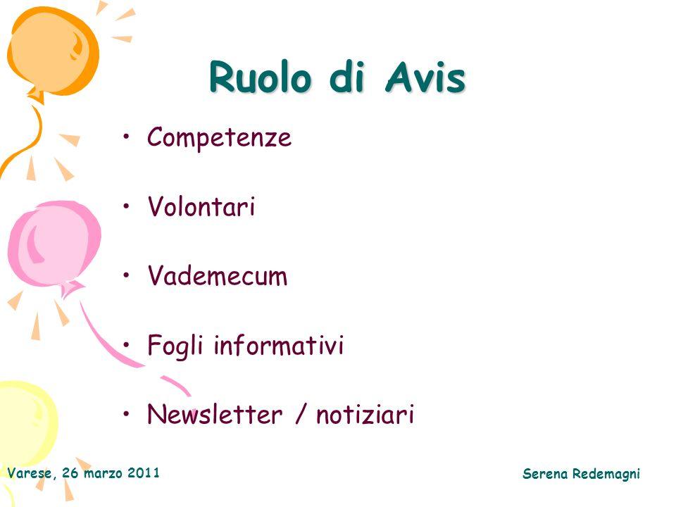 Ruolo di Avis Competenze Volontari Vademecum Fogli informativi