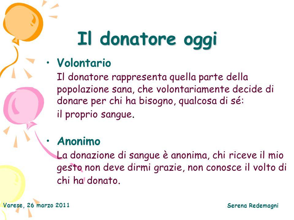 Il donatore oggi Volontario