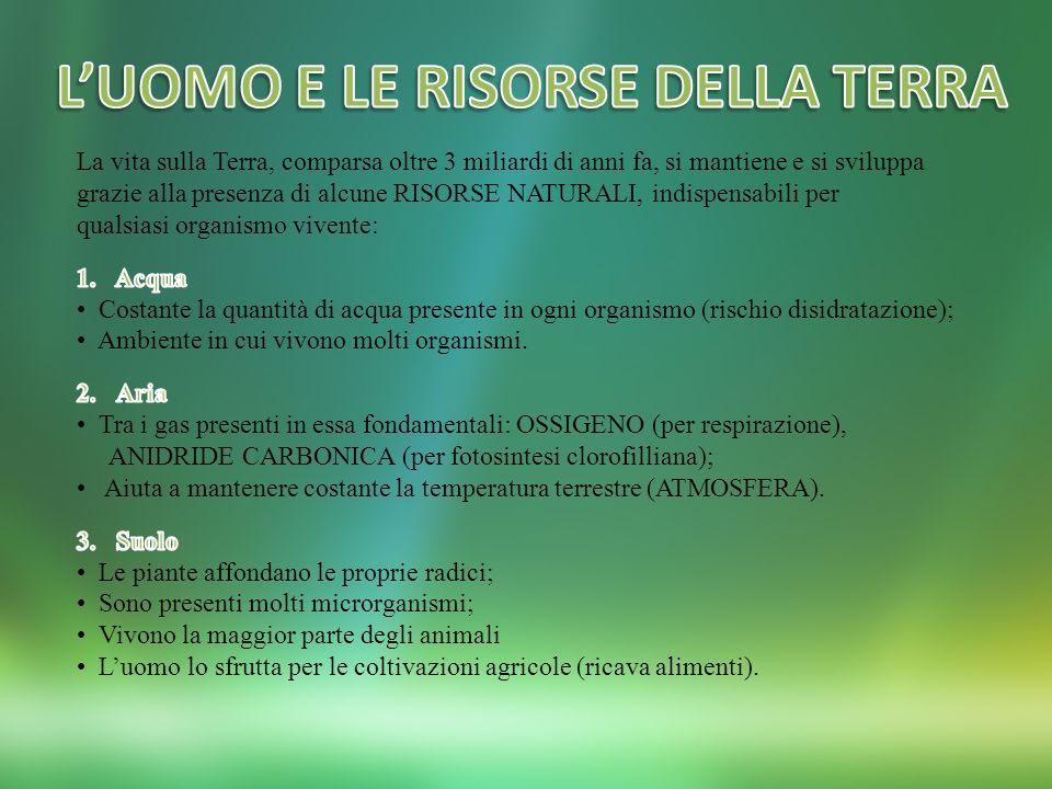 L'UOMO E LE RISORSE DELLA TERRA