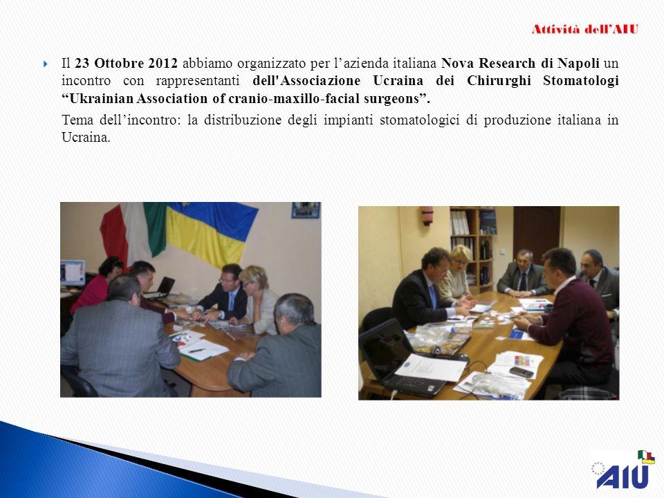 Il 23 Ottobre 2012 abbiamo organizzato per l'azienda italiana Nova Research di Napoli un incontro con rappresentanti dell Associazione Ucraina dei Chirurghi Stomatologi Ukrainian Association of cranio-maxillo-facial surgeons .