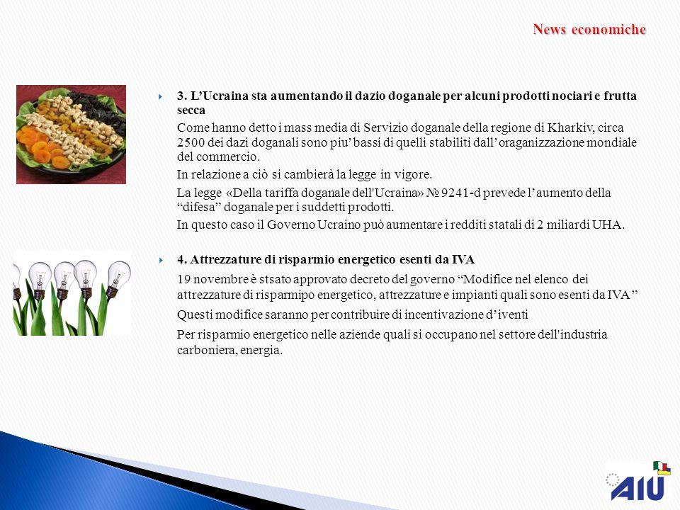 News economiche 3. L'Ucraina sta aumentando il dazio doganale per alcuni prodotti nociari e frutta secca.
