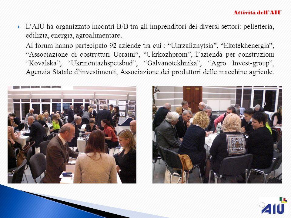 Attività dell'AIUL'AIU ha organizzato incontri B/B tra gli imprenditori dei diversi settori: pelletteria, edilizia, energia, agroalimentare.