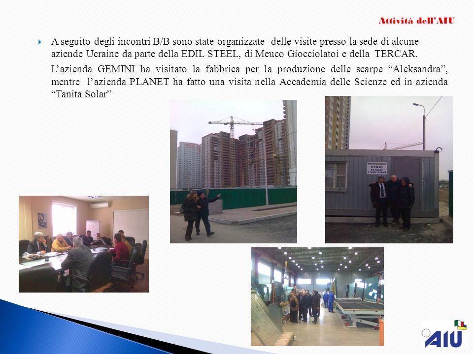 A seguito degli incontri B/B sono state organizzate delle visite presso la sede di alcune aziende Ucraine da parte della EDIL STEEL, di Meuco Giocciolatoi e della TERCAR.