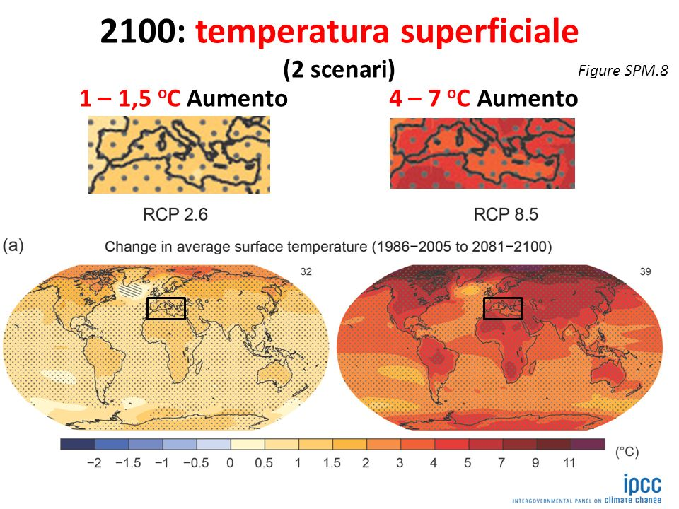 2100: temperatura superficiale (2 scenari)