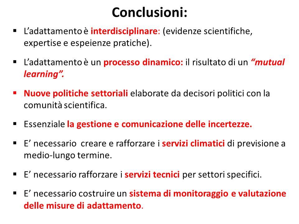 Conclusioni: L'adattamento è interdisciplinare: (evidenze scientifiche, expertise e espeienze pratiche).
