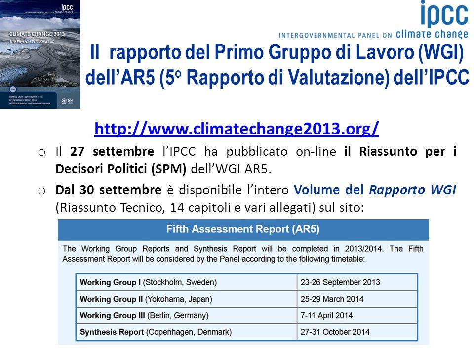 Il rapporto del Primo Gruppo di Lavoro (WGI) dell'AR5 (5o Rapporto di Valutazione) dell'IPCC