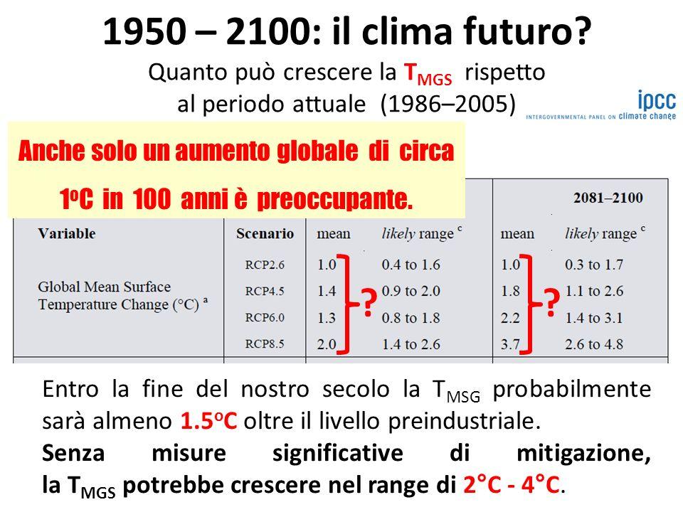 Anche solo un aumento globale di circa 1oC in 100 anni è preoccupante.