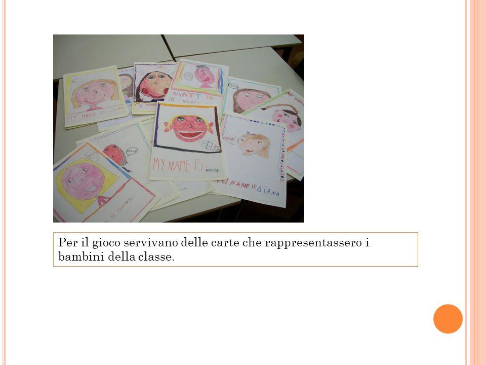 Per il gioco servivano delle carte che rappresentassero i bambini della classe.
