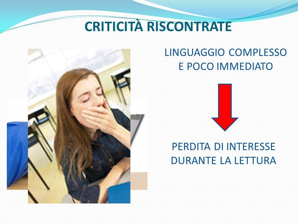 CRITICITÀ RISCONTRATE
