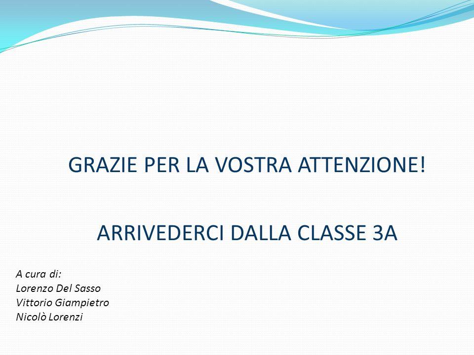 GRAZIE PER LA VOSTRA ATTENZIONE! ARRIVEDERCI DALLA CLASSE 3A
