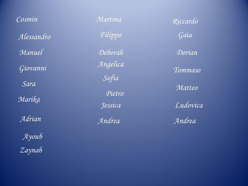 Cosmin Martina. Riccardo. Filippo. Gaia. Alessandro. Manuel. Deborah. Dorian. Angelica. Giovanni.