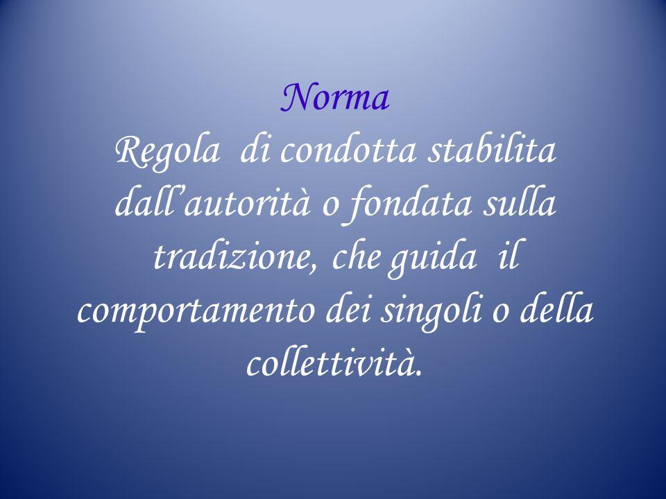 Norma Regola di condotta stabilita dall'autorità o fondata sulla tradizione, che guida il comportamento dei singoli o della collettività.