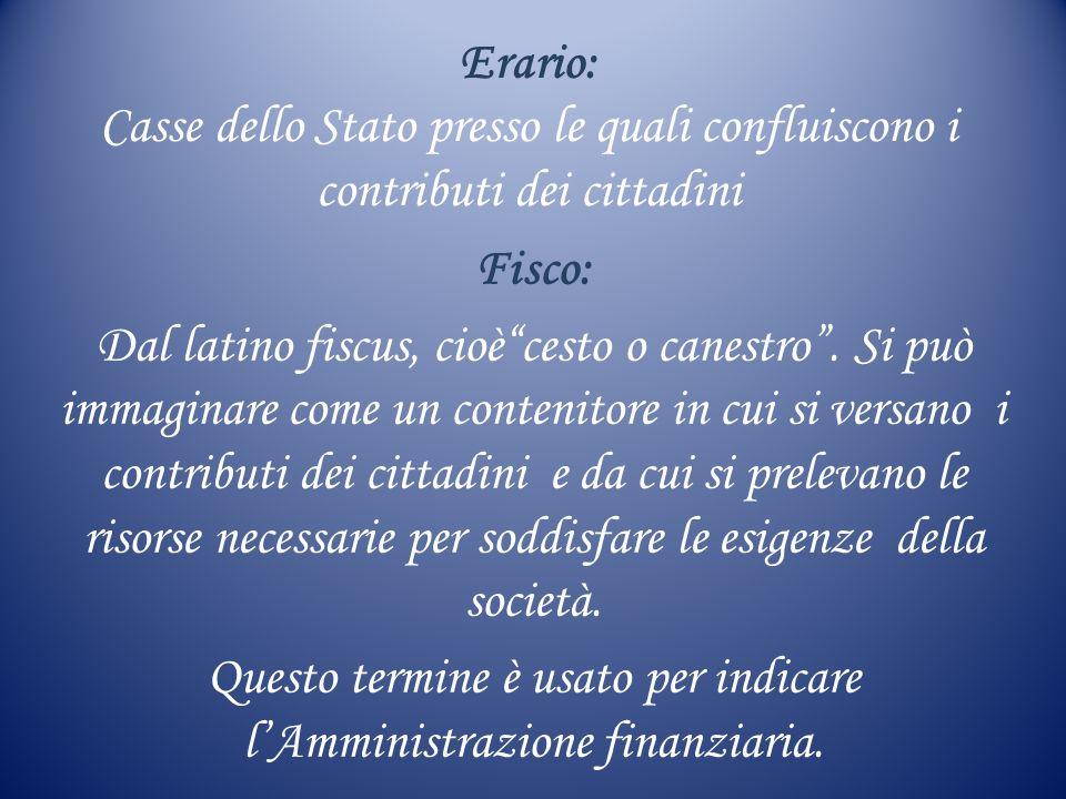 Questo termine è usato per indicare l'Amministrazione finanziaria.