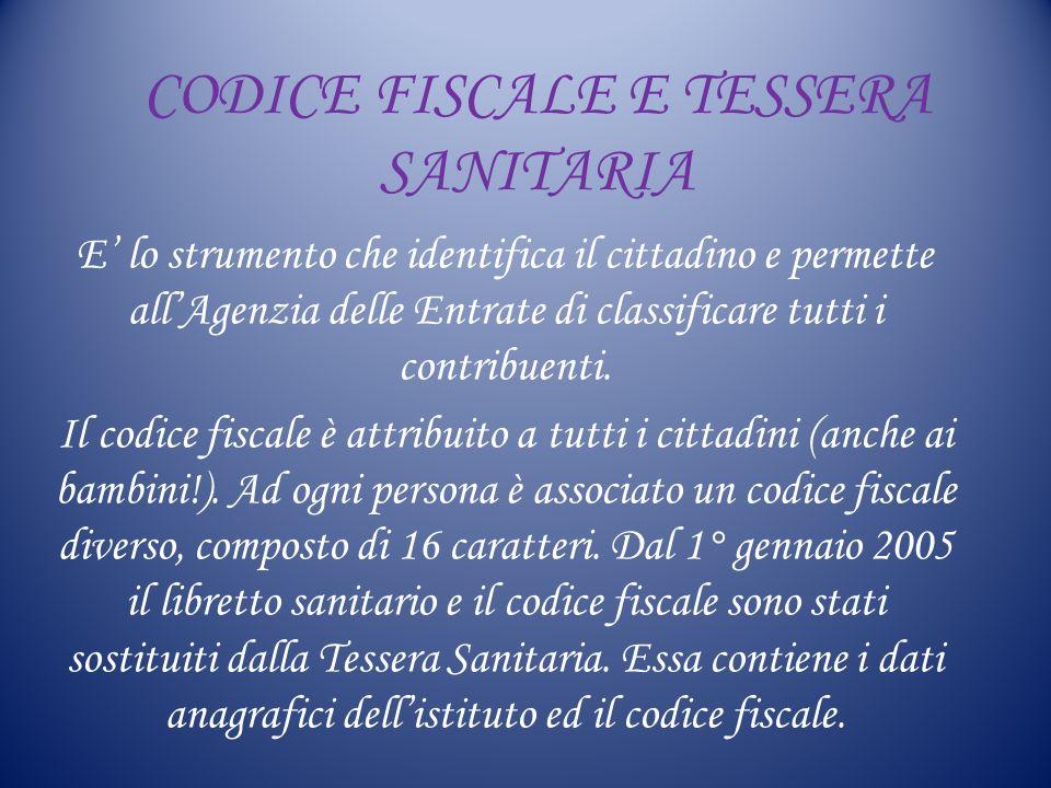 CODICE FISCALE E TESSERA SANITARIA