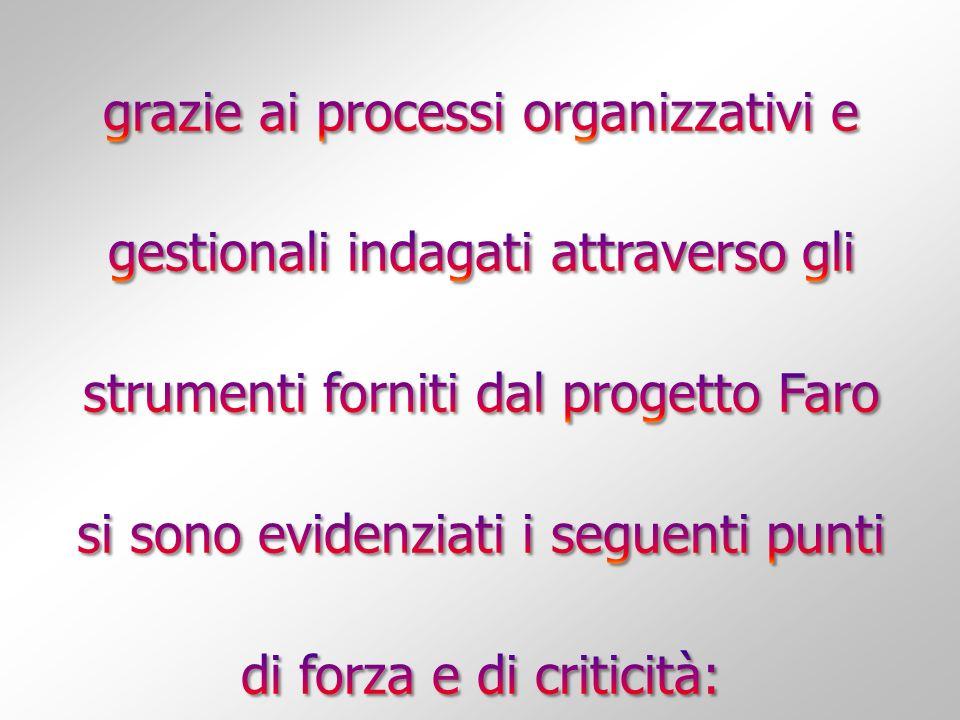 grazie ai processi organizzativi e gestionali indagati attraverso gli strumenti forniti dal progetto Faro si sono evidenziati i seguenti punti di forza e di criticità: