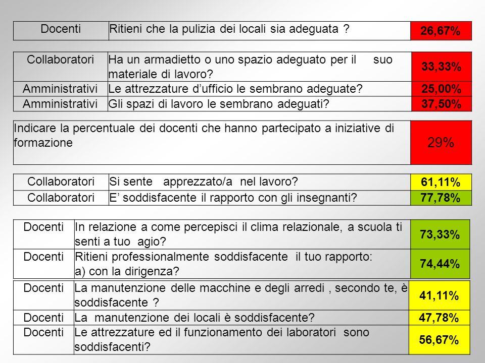 29% Docenti Ritieni che la pulizia dei locali sia adeguata 26,67%
