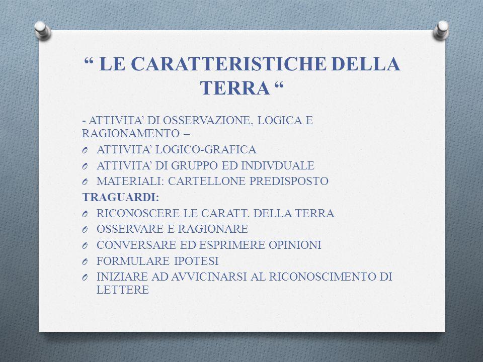 LE CARATTERISTICHE DELLA TERRA