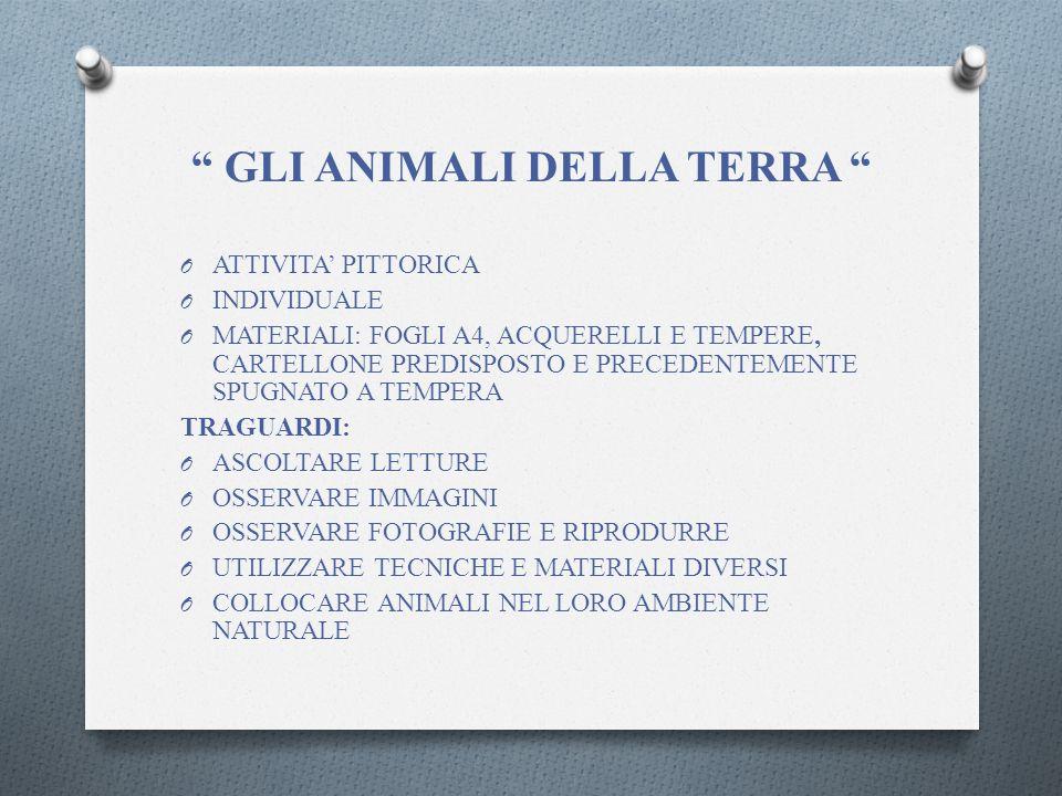 GLI ANIMALI DELLA TERRA