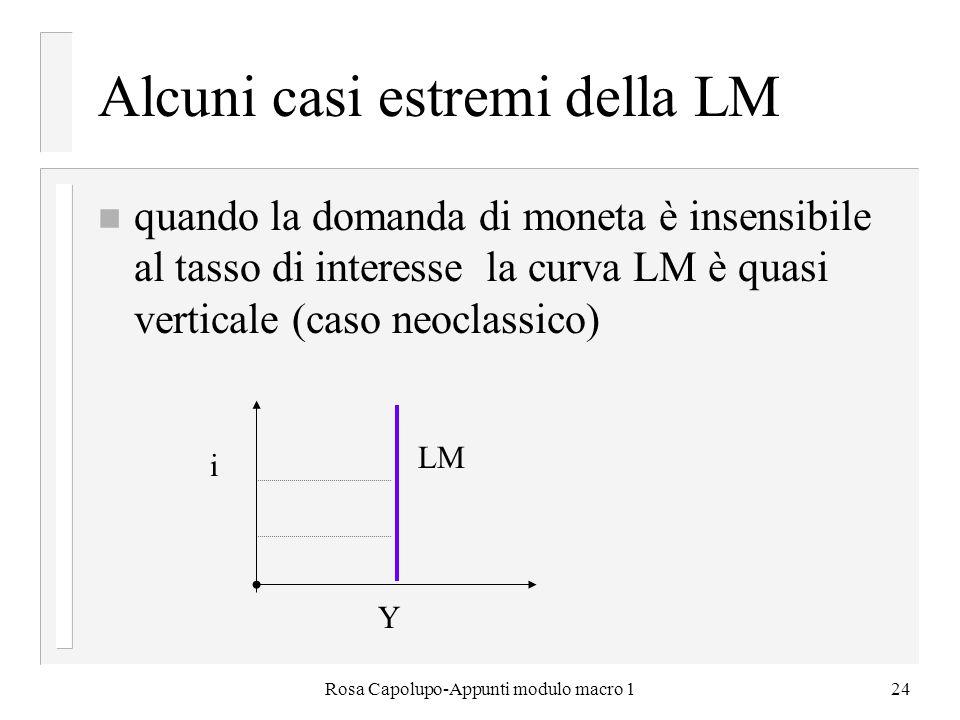 Alcuni casi estremi della LM