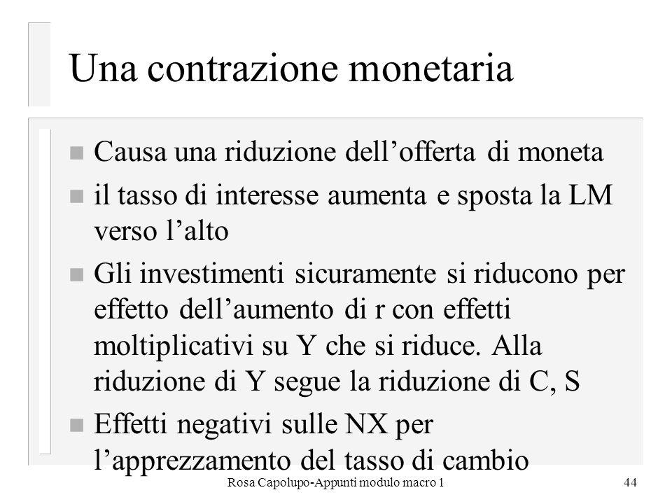 Una contrazione monetaria