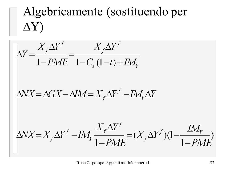 Algebricamente (sostituendo per Y)