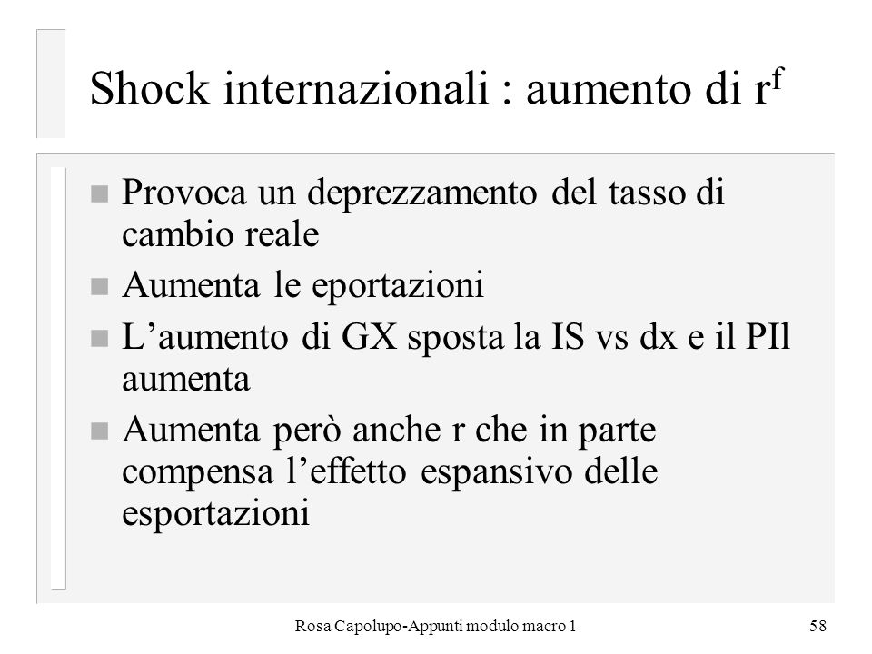 Shock internazionali : aumento di rf
