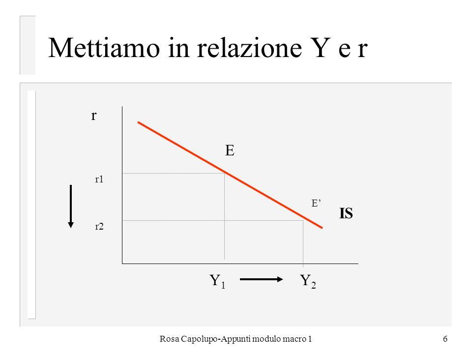 Mettiamo in relazione Y e r