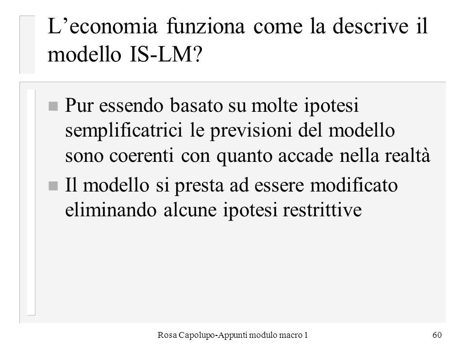 L'economia funziona come la descrive il modello IS-LM