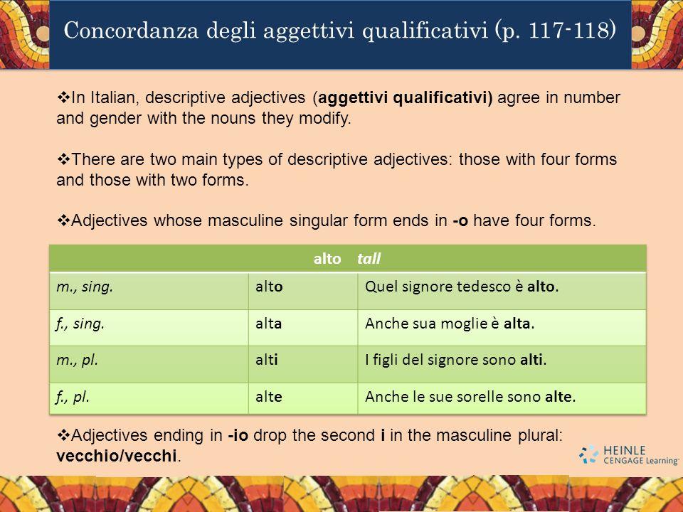 Concordanza degli aggettivi qualificativi (p. 117-118)