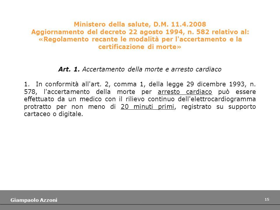 Art. 1. Accertamento della morte e arresto cardiaco