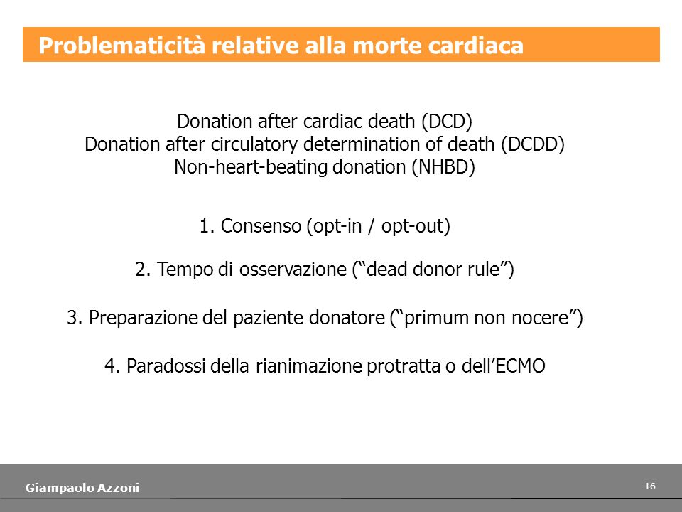 Problematicità relative alla morte cardiaca