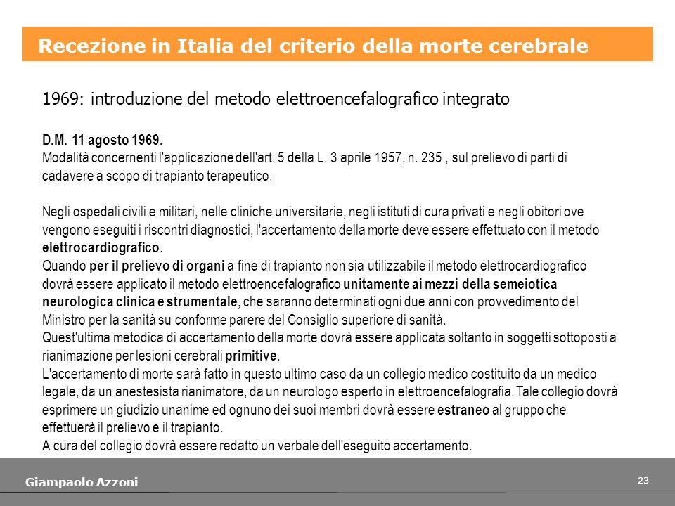 Recezione in Italia del criterio della morte cerebrale