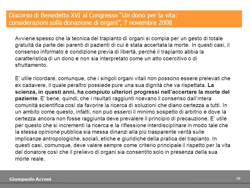 Discorso di Benedetto XVI al Congresso Un dono per la vita: