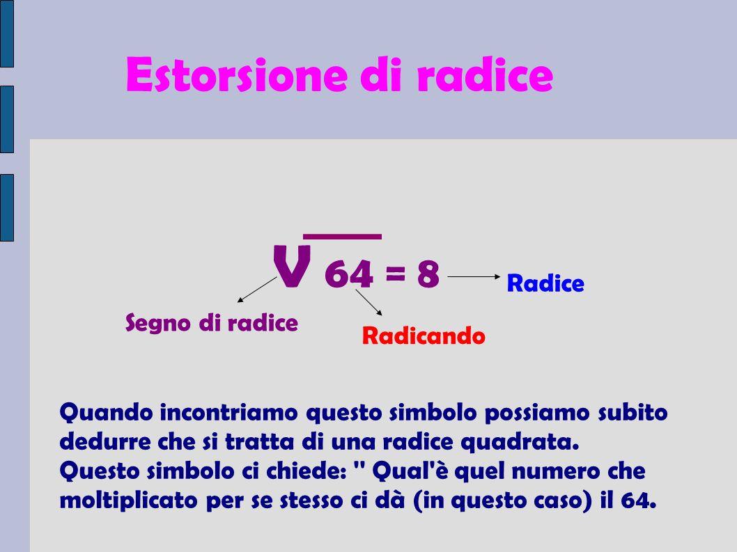 V 64 = 8 Estorsione di radice Radice Segno di radice Radicando
