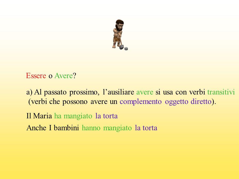 Essere o Avere a) Al passato prossimo, l'ausiliare avere si usa con verbi transitivi. (verbi che possono avere un complemento oggetto diretto).