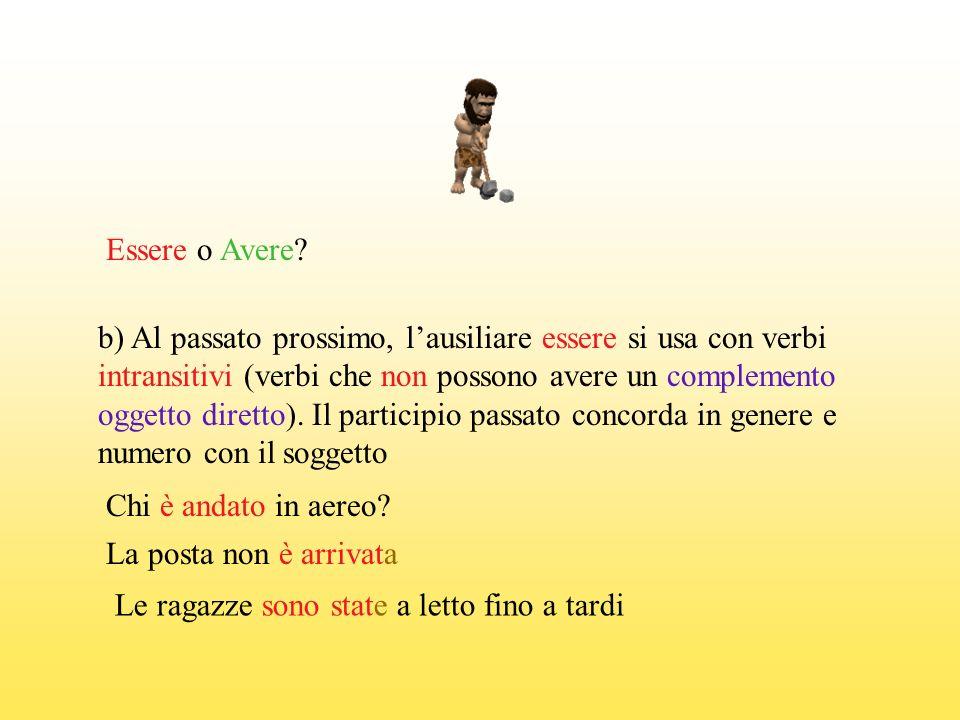 Essere o Avere b) Al passato prossimo, l'ausiliare essere si usa con verbi. intransitivi (verbi che non possono avere un complemento.