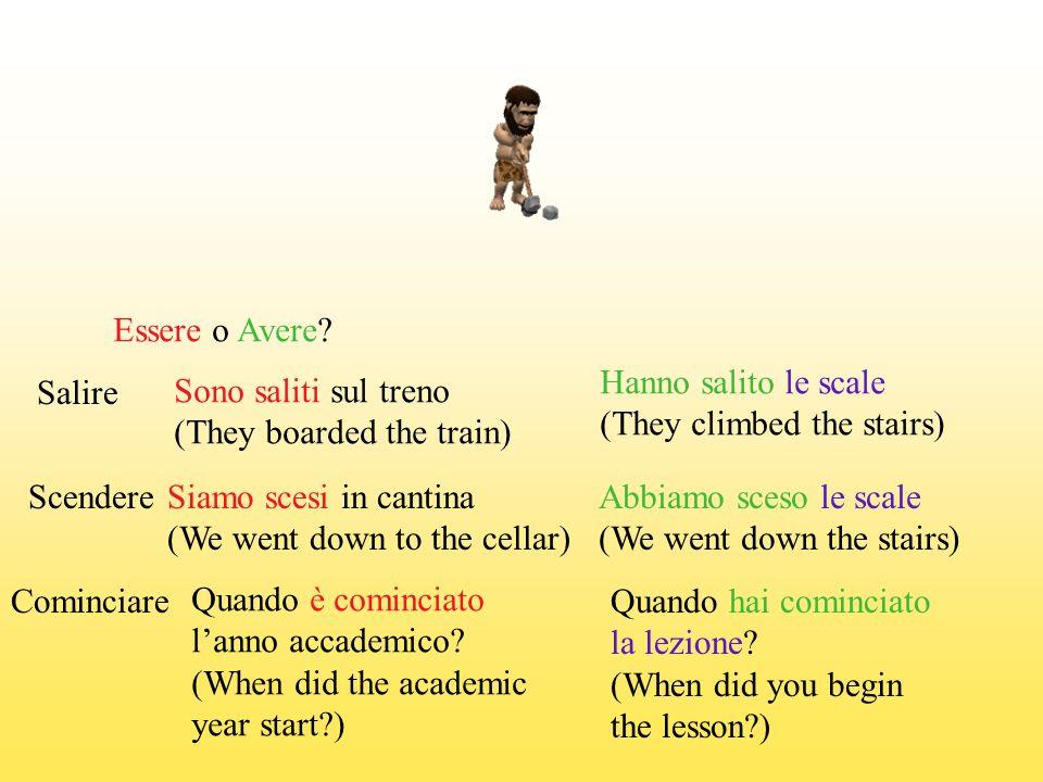 Essere o Avere Hanno salito le scale. (They climbed the stairs) Salire. Sono saliti sul treno. (They boarded the train)