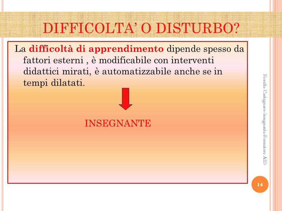 DIFFICOLTA' O DISTURBO