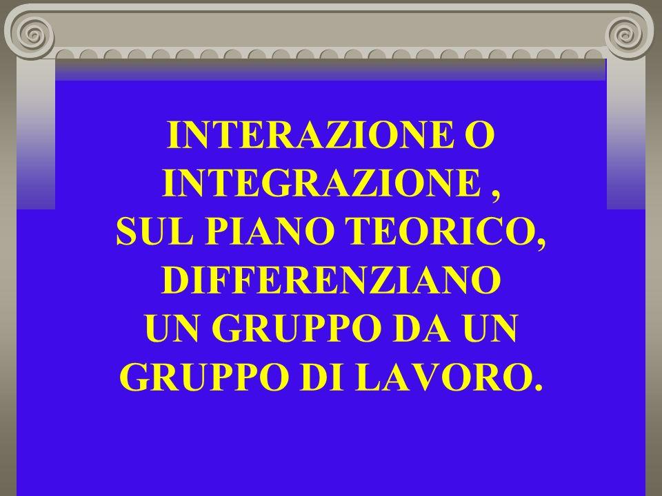 INTERAZIONE O INTEGRAZIONE , SUL PIANO TEORICO, DIFFERENZIANO UN GRUPPO DA UN GRUPPO DI LAVORO.